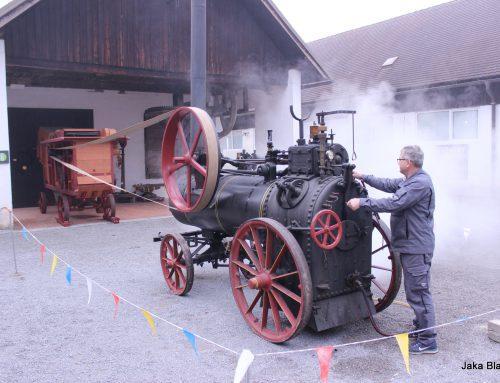 Prikaz mlačve žita z lokomobilo v TMS Bistra
