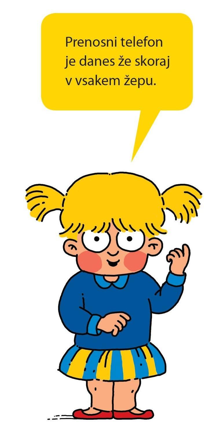 Ilustracija punčke z mobilnim telefonom