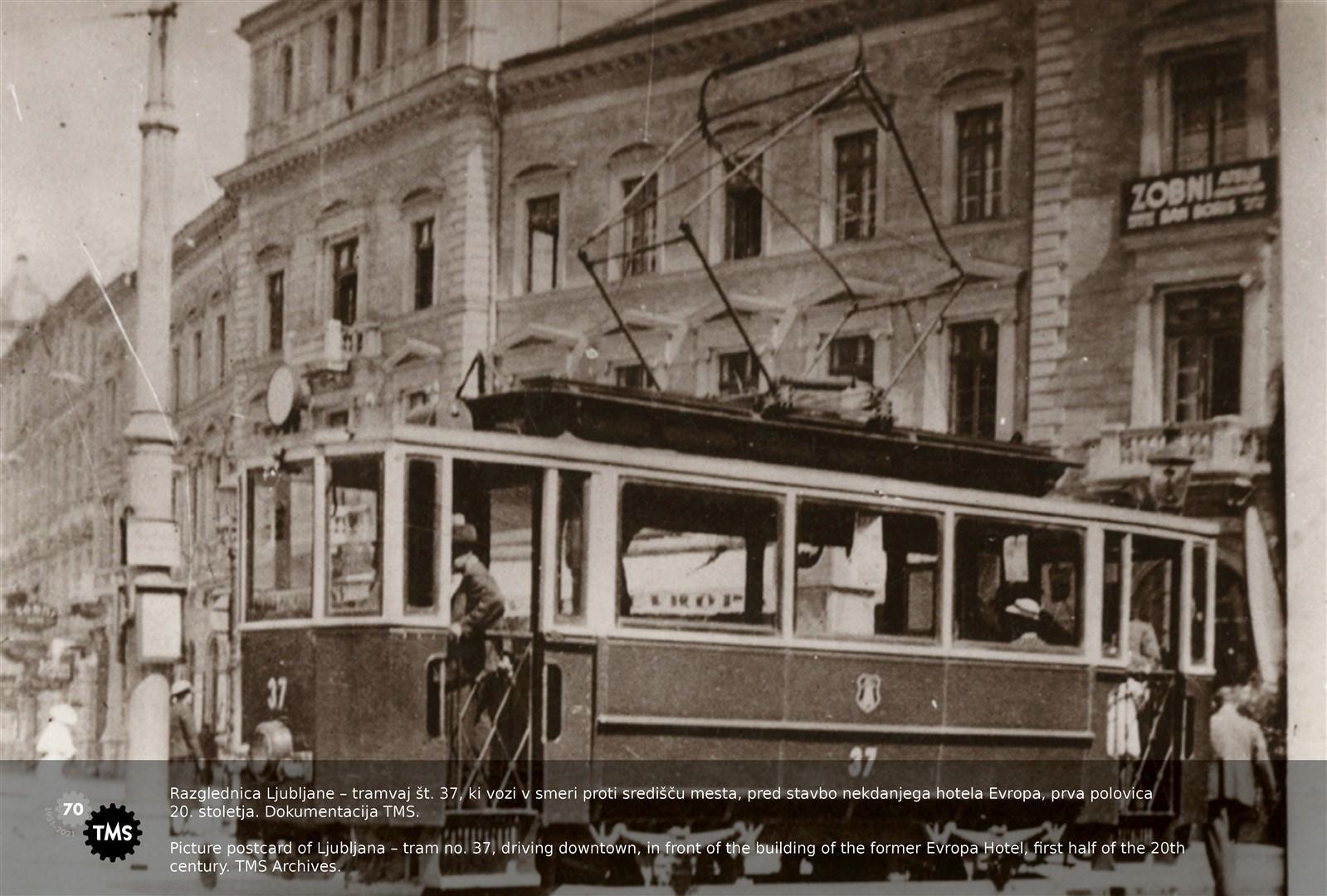 Razglednica Ljubljane - tramvaj št. 37
