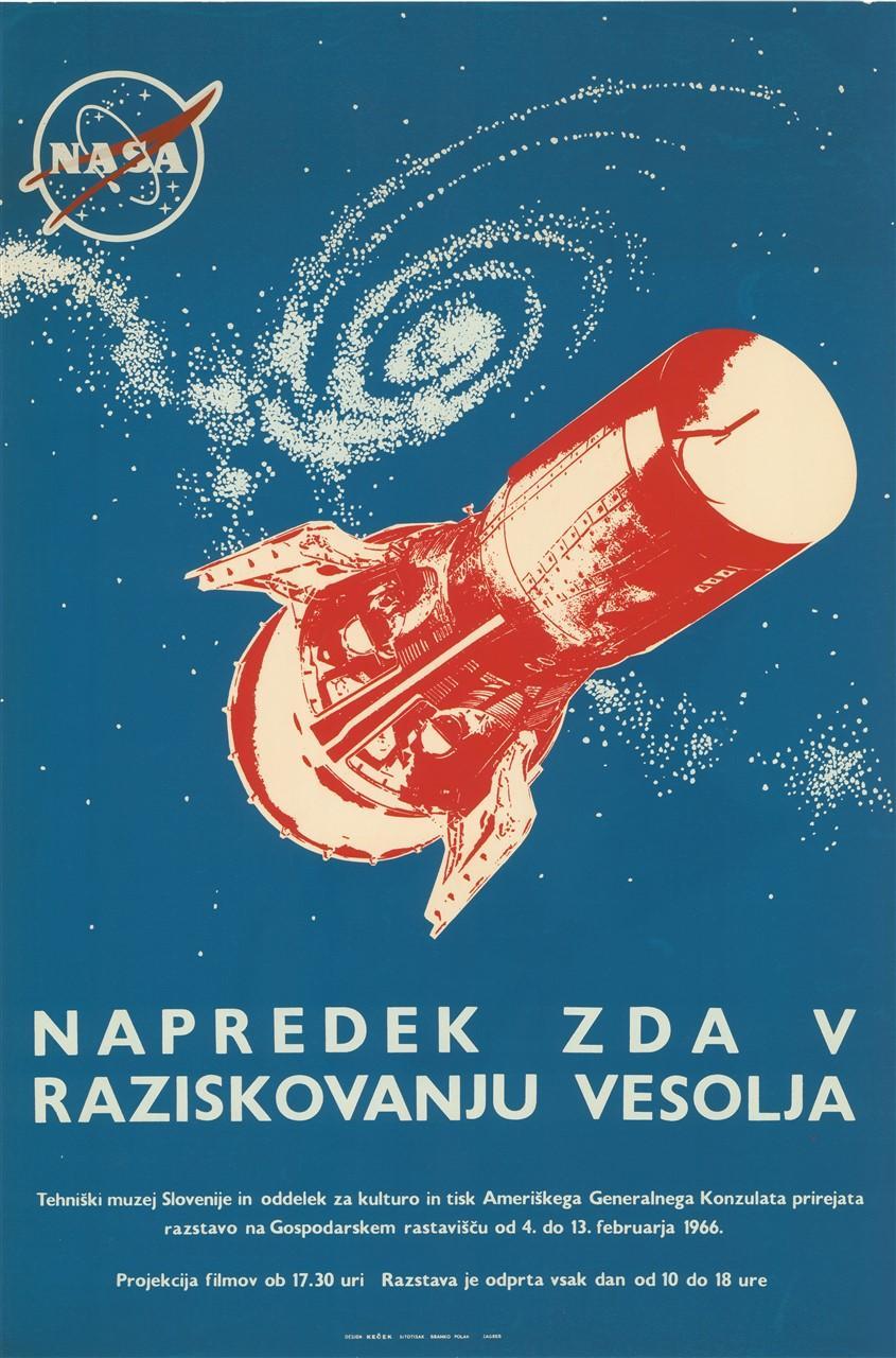 """Plakat """"Napredek ZDA v raziskovanju vesolja"""", 1966"""