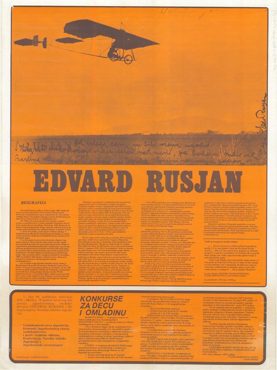 """Plakat""""Edvard Rusjan""""2, 1979"""