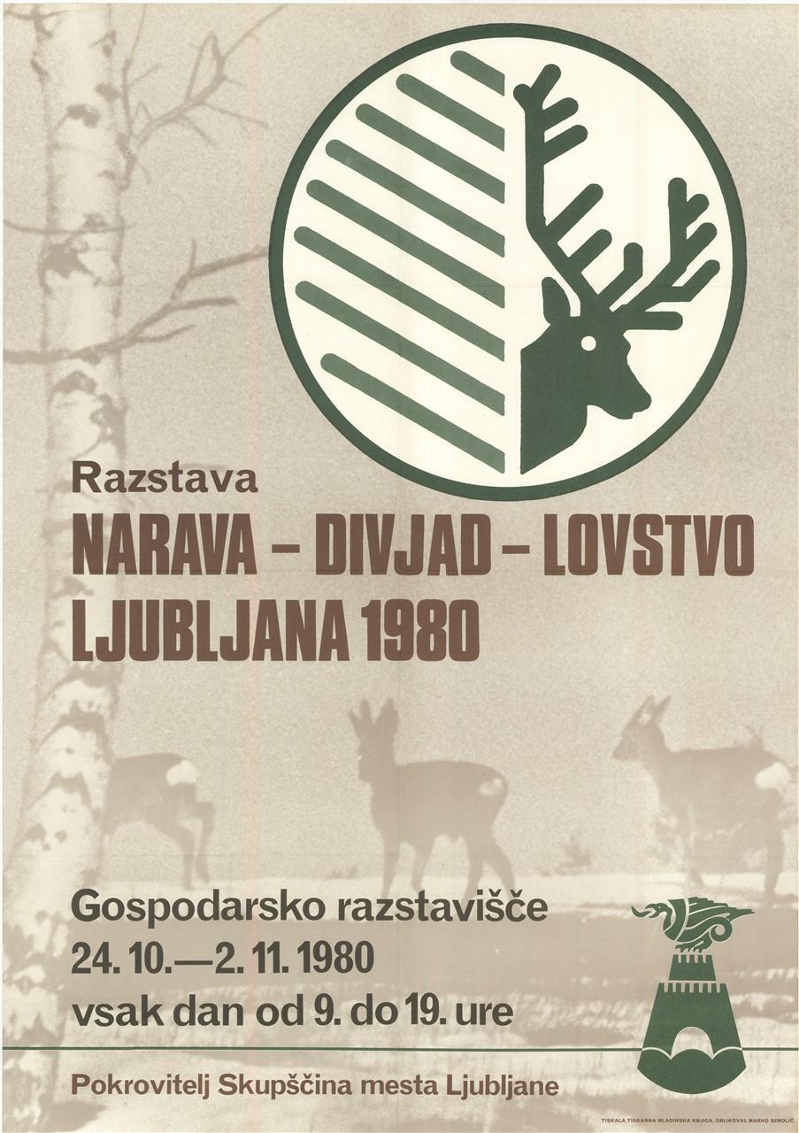 "Plakat ""Narava - divjad - lovstvo"", 1980"