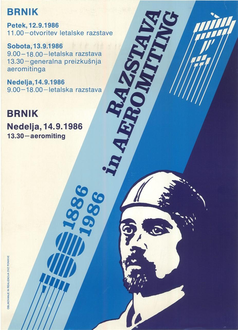 """Plakat """"Razstava in aeromiting"""", 1986"""