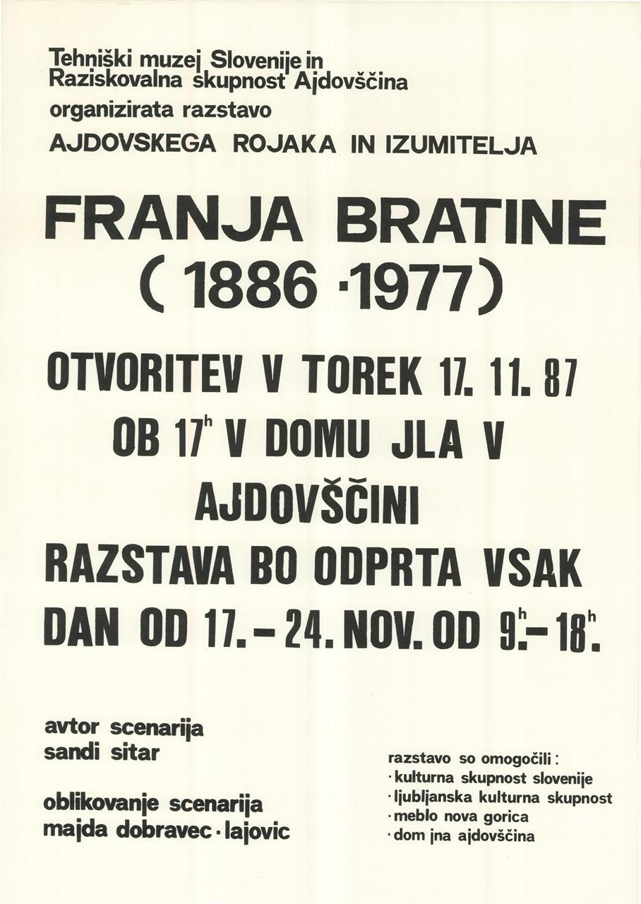 Plakat »Razstava ajdovskega rojaka in izumitelja Franja Bratine«, 1987